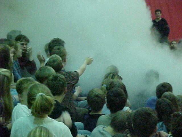 Students playing in a nitrogen cloud.