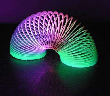 Colorful slinky in ultra violet light
