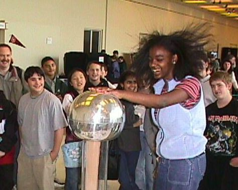 Girl with static electricity in her hair